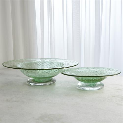Granilla Green Footed Bowl with Golden Bubbles