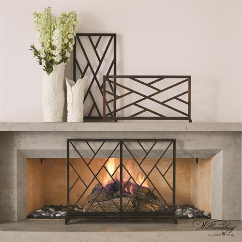 Chinoise Fret Fireplace Screen-Bronze