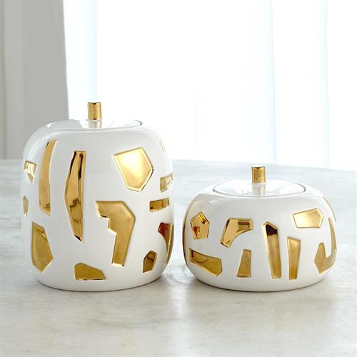 Abstract Jar-White/Gold
