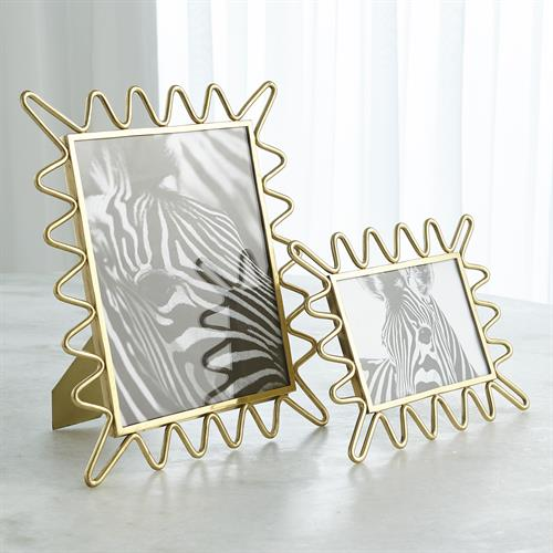 Ric Rac Picture Frame Mirror-Gold