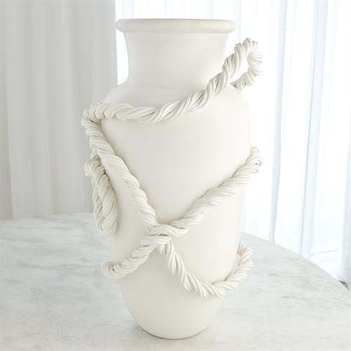 Twisted Amphora Vase-Matte White