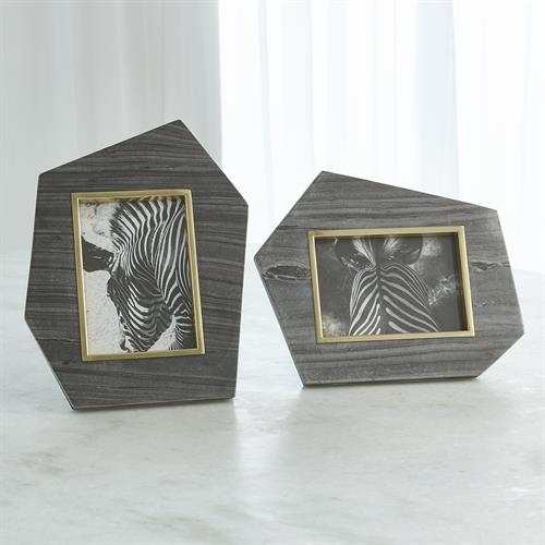 Brass Frame Grey Stone Photo Frame