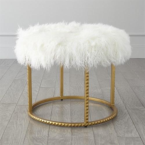 Stud Pouf-Gold Leaf-White Fur