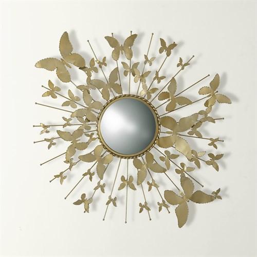 Butterfly Mirror-Satin Brass