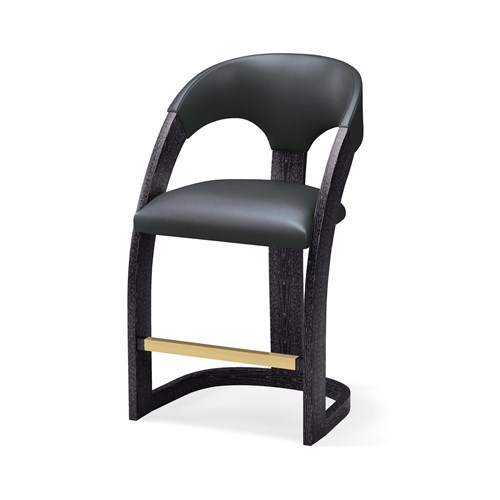 Delia Counter Stool-Ebony Cerused-Graphite Leather
