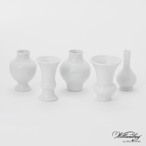 S/5 Mini Chinoise Vases in White