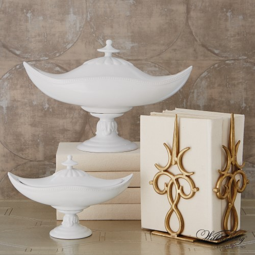 Global Views Products Palladian Beaded Urn White
