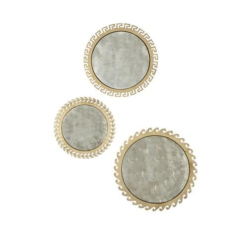S/3 Greek Isles Mirrors-Antique Gold Leaf
