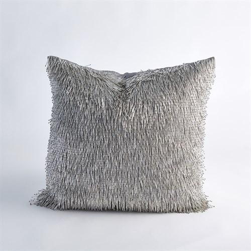 Shimmy Fringe Pillow-Silver