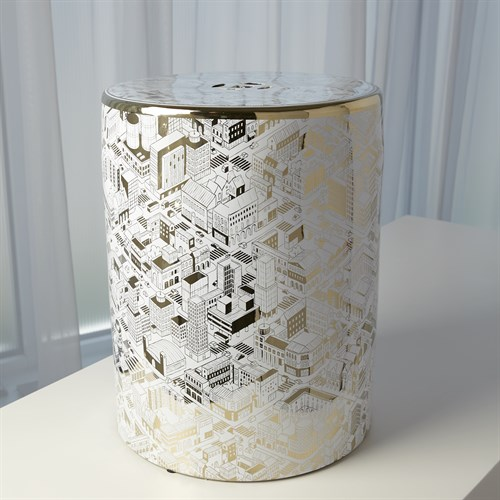 City Garden Stool-White w/Gold