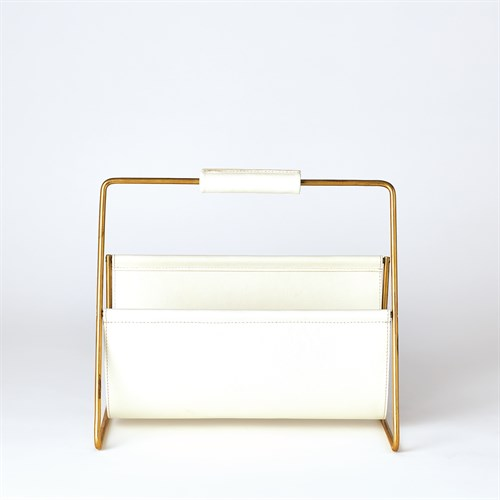 Vivien Literature Holder-Brass w/White Leather