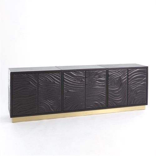Forest Long Cabinet-Charcoal Leather