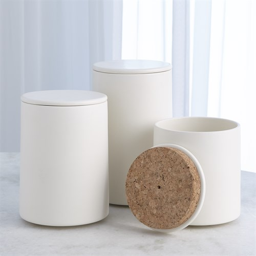 Encircle Canister w/Cork Lid-Chalk