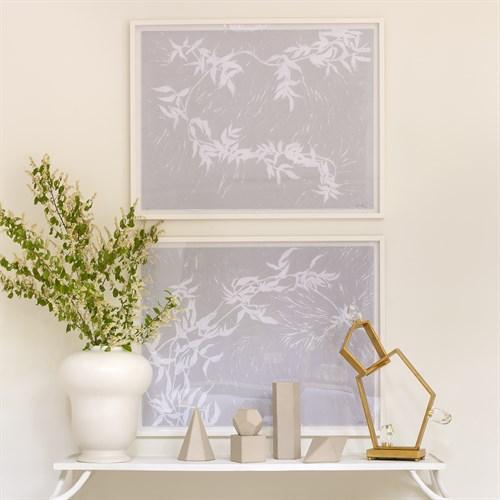 Jasmine Block Print Framed Art-Grey and White