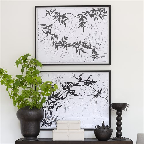 Jasmine Block Print Framed Art-Black and White