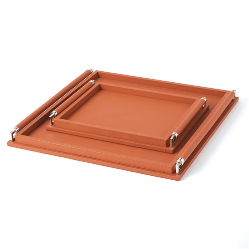 Wrapped Handle Tray-Coral Leather