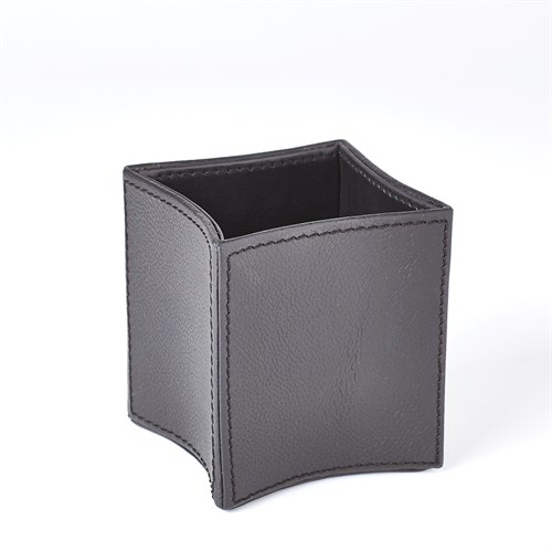Folded Leather Pencil Cup-Black