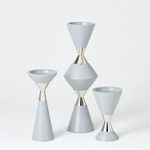 S/3 Hourglass Pillar Candleholders-Grey w/Nickel
