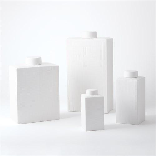 Grid Texture Jar-White