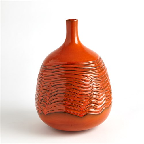 Carved Vase-Orange