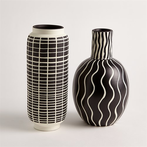Graphic Grid Cylinder Vase-Black/White