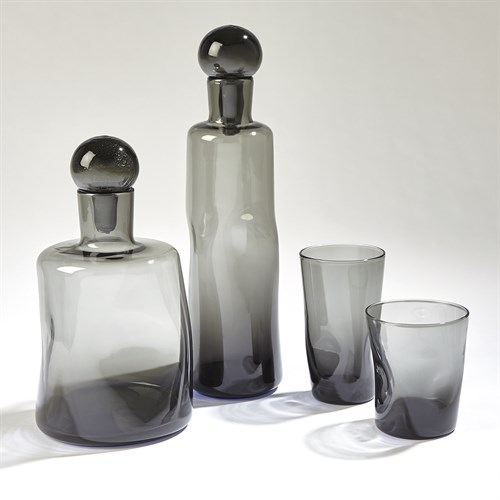 Pinched Decanters and Glasses-Grey
