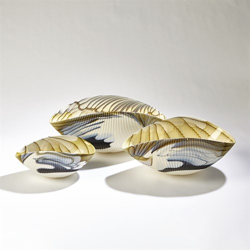 Pleated Bowl-Amber/Blue Filigree