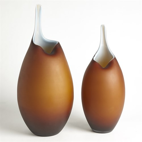 Frosted Amber Vase W/Blue Casing