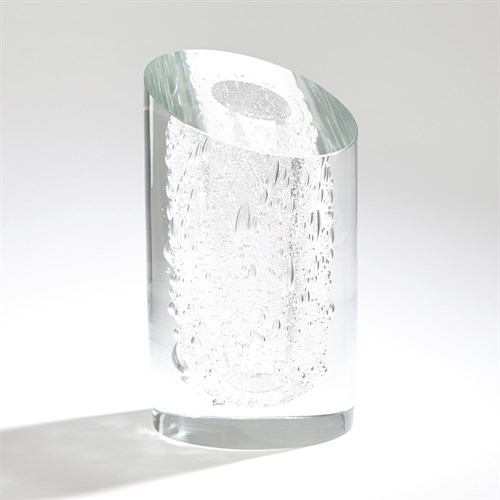 Slant Vase-Clear w/Bubbles