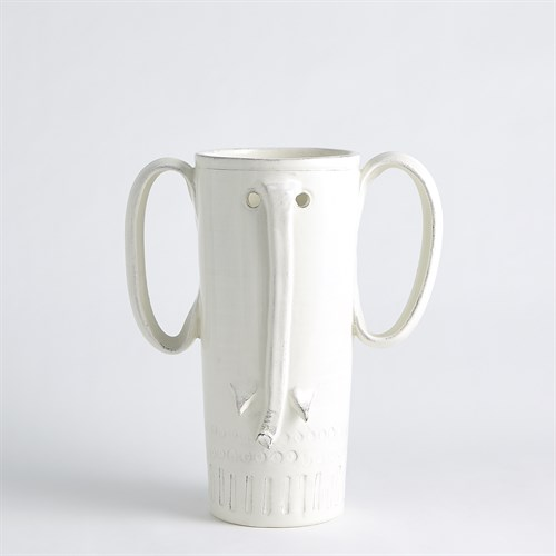 Elephant Vase-Antique White