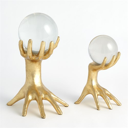 Hands on Sphere Holder-Gold Leaf-Lg