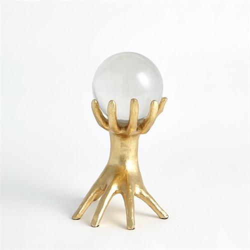 Hands on Sphere Holder-Gold Leaf-Sm