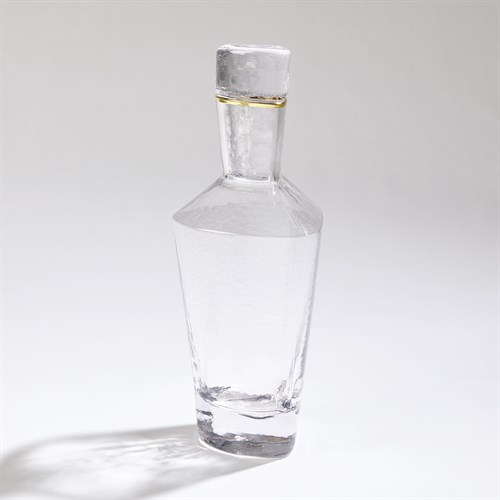 Hammered Decanter-Clear W/Gold Rim