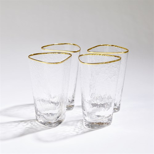 S/4 Hammered High Ball Glasses-Clear W/Gold Rim