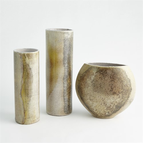 Golden Raku Vases