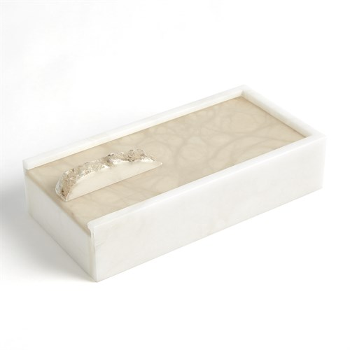 Alabaster Rectangle Box w/Rock Finial