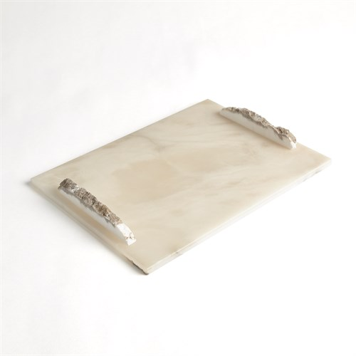 Alabaster Rectangle Tray w/Rock Handles