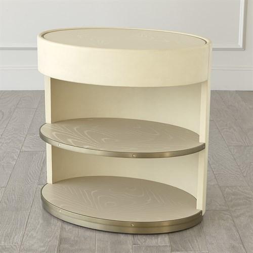 Ellipse Bedside Cabinet-Ivory