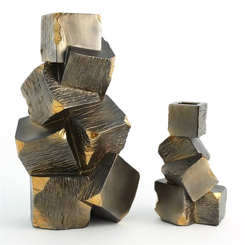 Faux Pyrite Vases-Black w/Gold