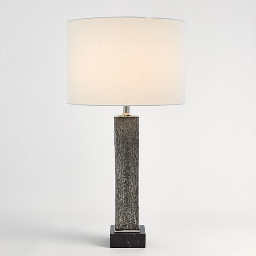 Square Column Mercury Glass Table Lamp-Nickel