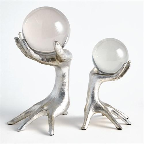 Hands on Sphere Holder-Silver Leaf