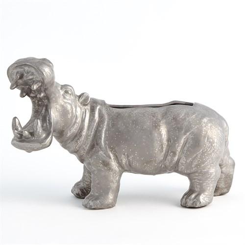 Hippo Planter-Silver