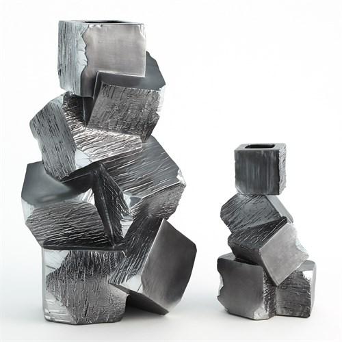 Faux Pyrite Vases-Black w/Silver