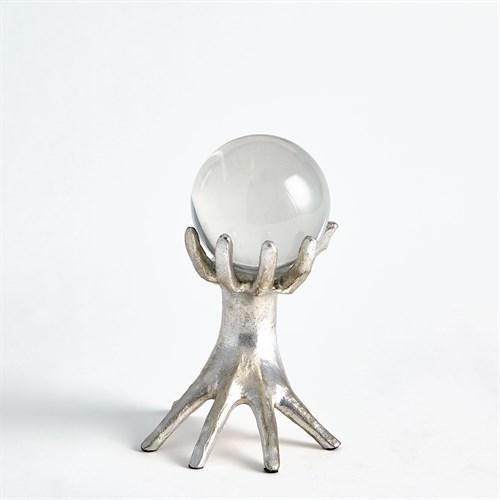 Hands on Sphere Holder-Silver Leaf-Sm