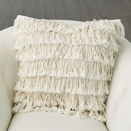 Fringe Pillow-Linen