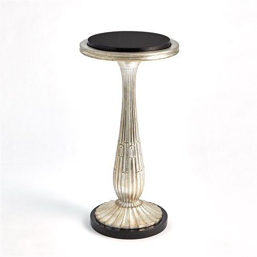 Fluted Side Table-Silver Leaf