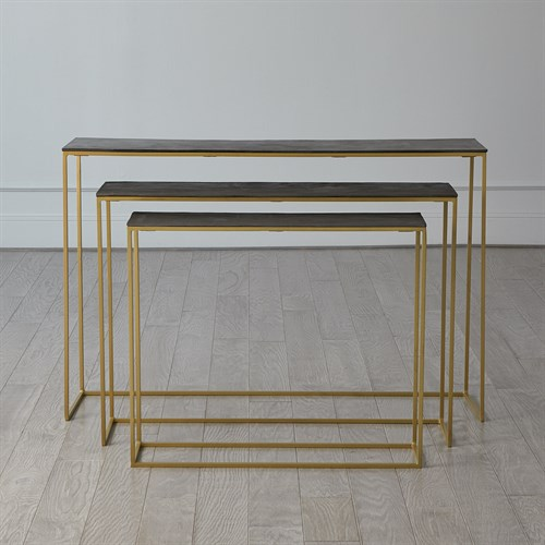 S/3 Sand Casted Nesting Consoles-Gold frame w/Black Top