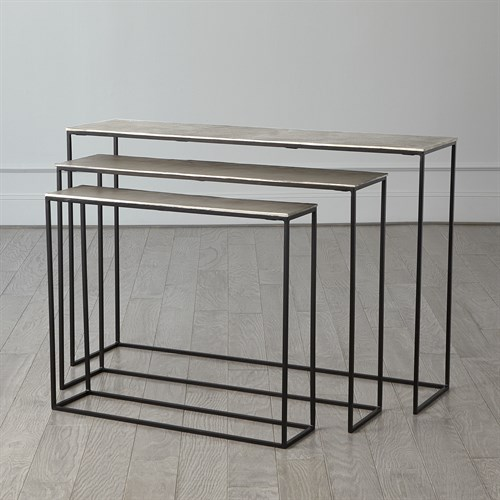 S/3 Sand Casted Nesting Consoles-Black Frame w/Nickel Top