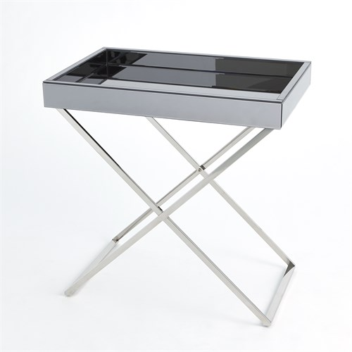 Graphite Mirror in Nickel Folding Tray Table