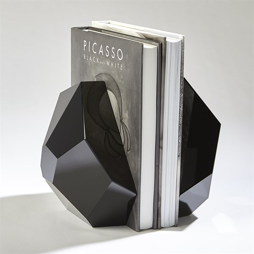 S/2 Crystal Bookends-Black